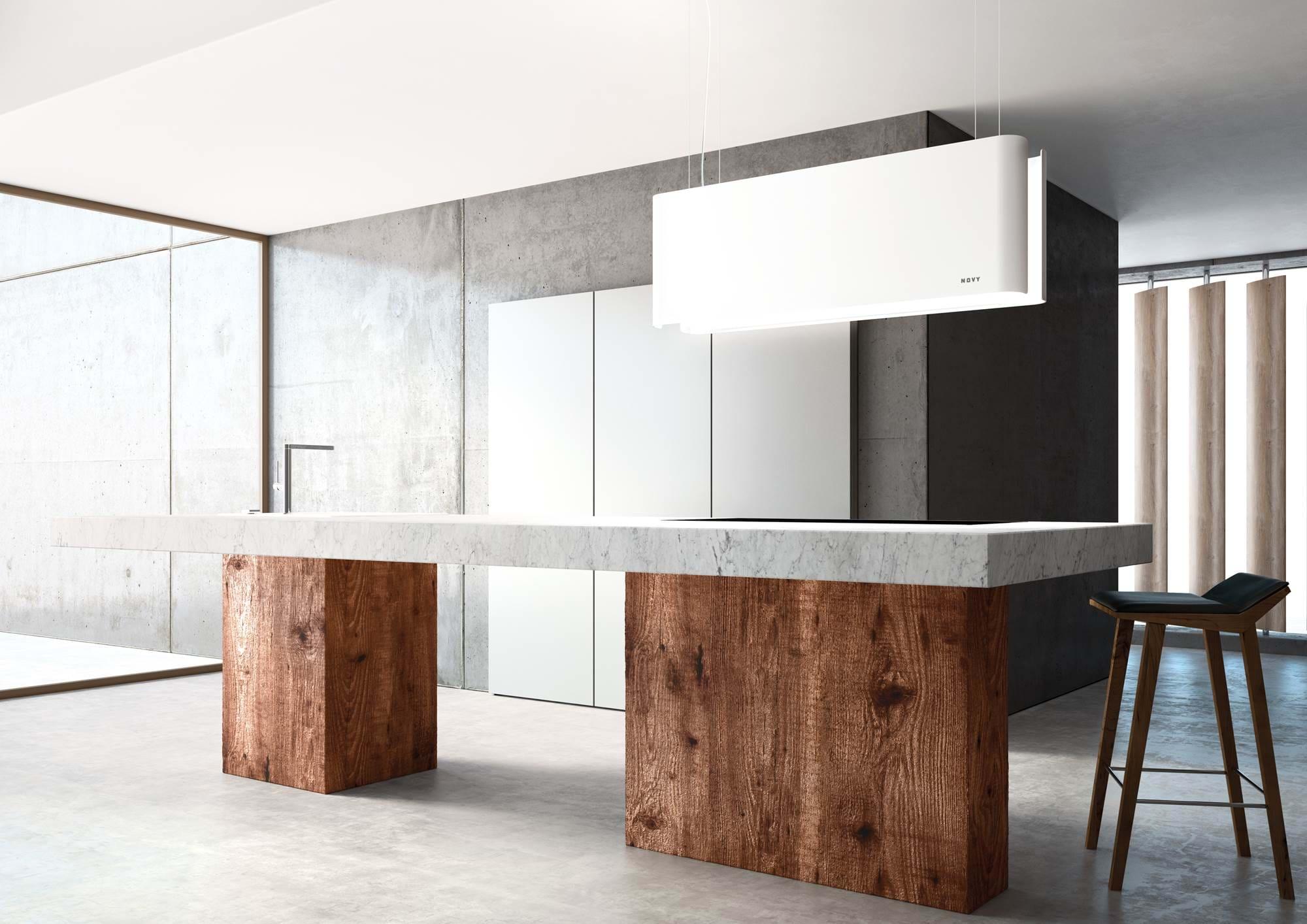 hotte novy pianos-et-fourneaux.com hotte centrale blanche decorative